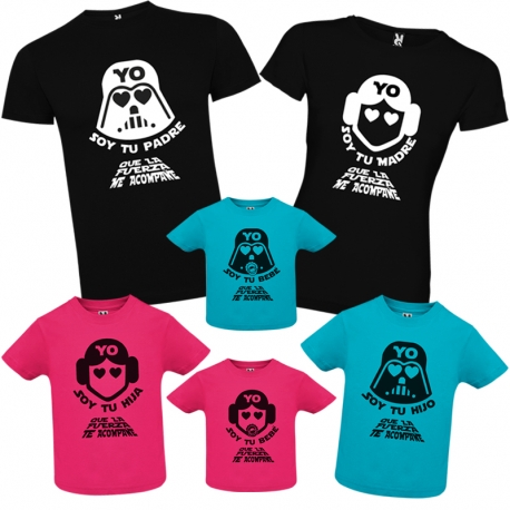 Pack camisetas familia STAR WARS + CAJA REGALO