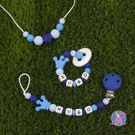 Sujetachupetes + Mordedor + Collar silicona multicolor azul