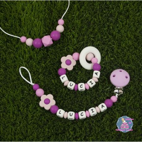 Sujetachupetes + Mordedor + Collar silicona multicolor rosa