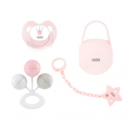 Pack personalizado sonajero rosa