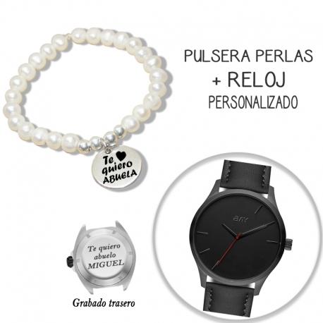 Pack pulsera perlas + reloj personalizado