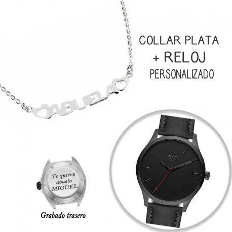 Collar PLATA DE LEY + reloj personalizado