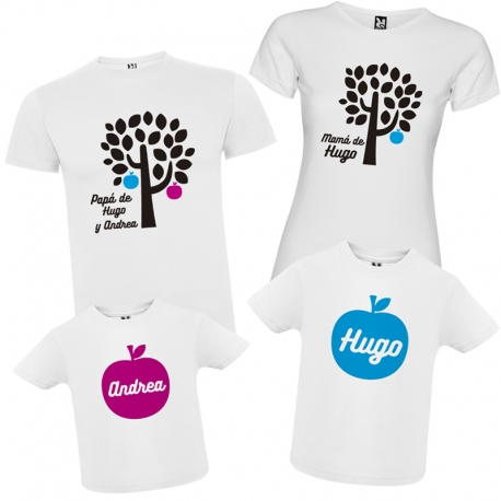 Camisetas familia MANZANAS + CAJA REGALO