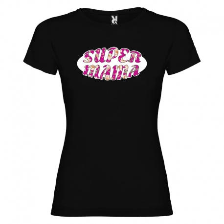 Camiseta purpurina - SUPERMAMÁ FLORES