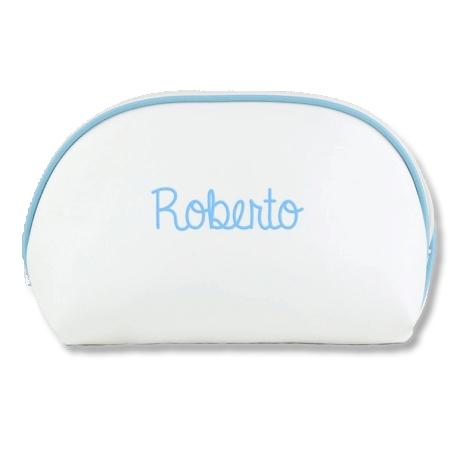 Neceser Polipiel Blanco - Ribete Azul
