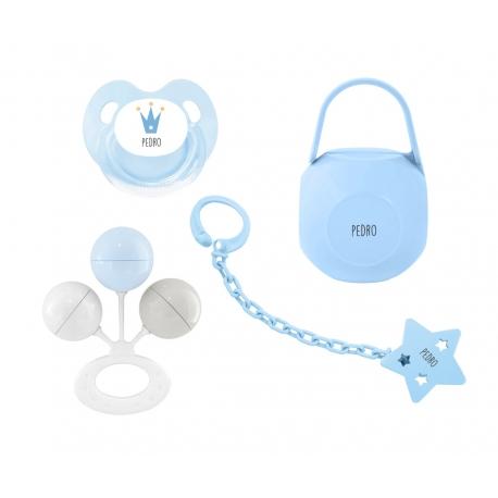 Pack personalizado sonajero azul