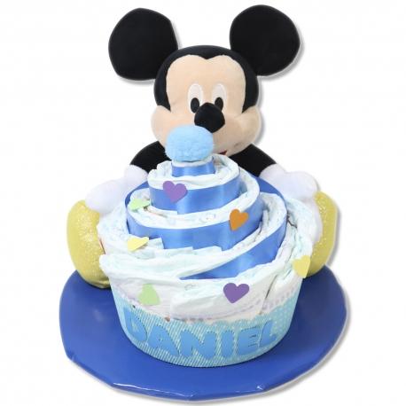Cupcake de pañales AZUL con peluche Mickey