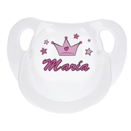 Chupete blanco personalizado princesa