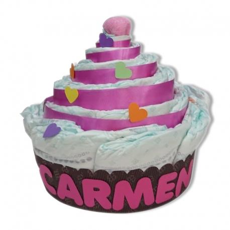 Cupcake de pañales MARRÓN y FUCSIA