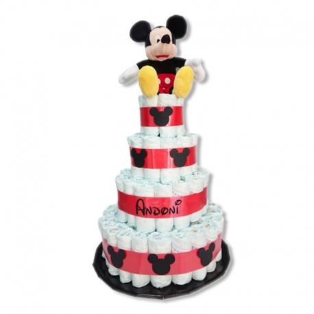Tarta de pañales 4 pisos ROJA Mickey