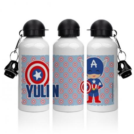 Botella aluminio - CAPITÁN AMÉRICA