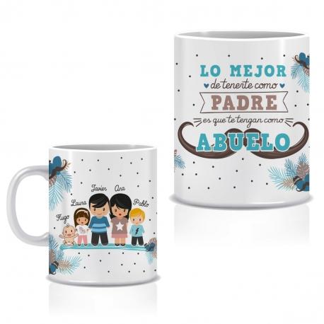 Taza personalizada LO MEJOR DE TENERTE - ABUELO Y NIÑOS