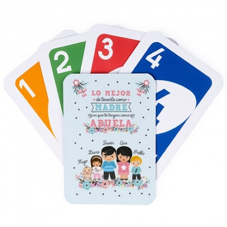 Juego de cartas UNO - LO MEJOR DE TENERTE - ABUELA Y NIÑOS