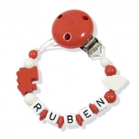 Sujetachupetes  personalizado Rojo y Blanco