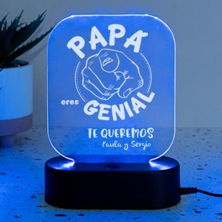 Lámpara personalizada PAPÁ ERES GENIAL