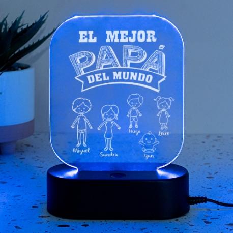 Lámpara personalizada CON DIBUJOS - MEJOR PAPÁ DEL MUNDO