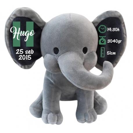 Peluche natalicio elefante gris