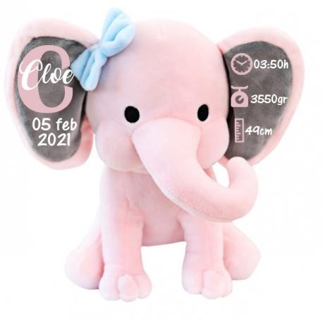 Peluche natalicio elefante rosa