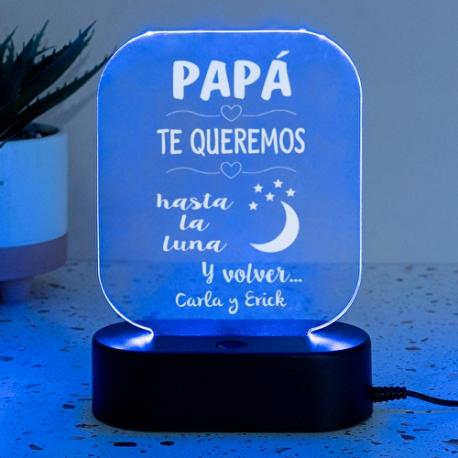 Lámpara personalizada PAPÁ TE QUEREMOS HASTA LA LUNA