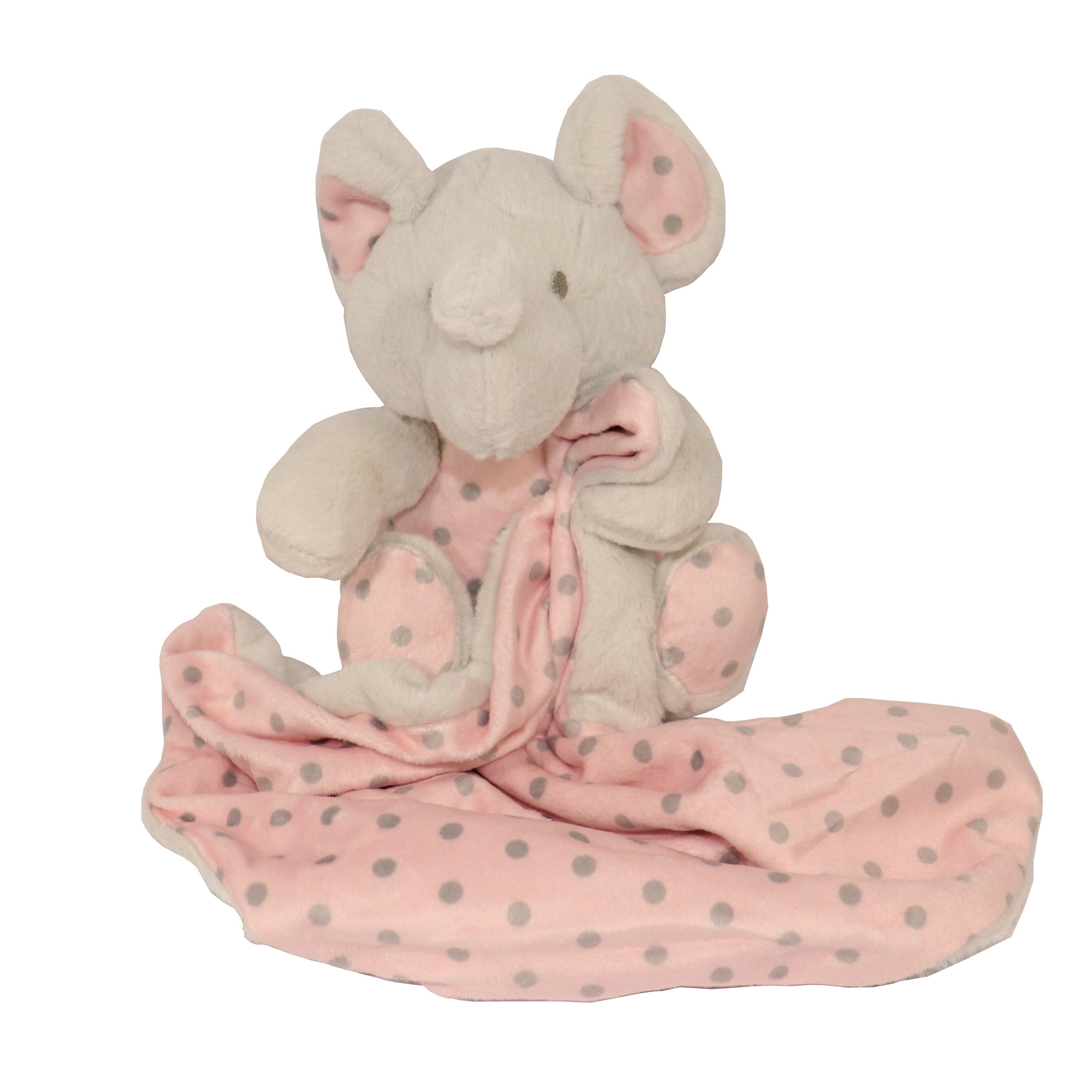 Doudou elefante gris/rosa