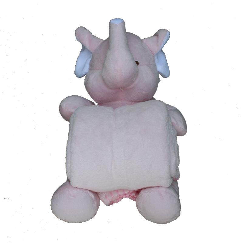 Peluche manta elefante rosa
