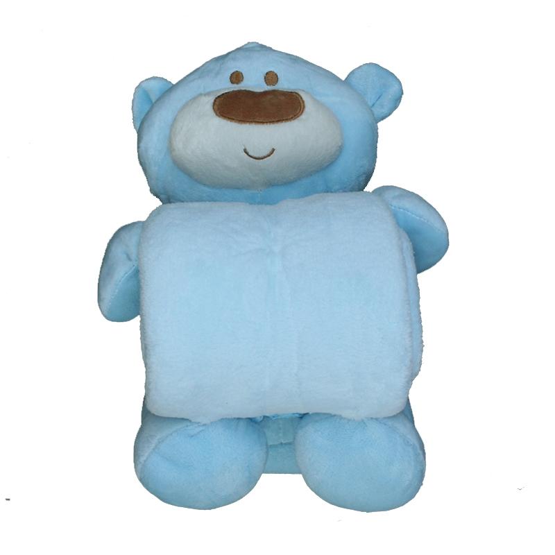 Peluche manta oso grande azul