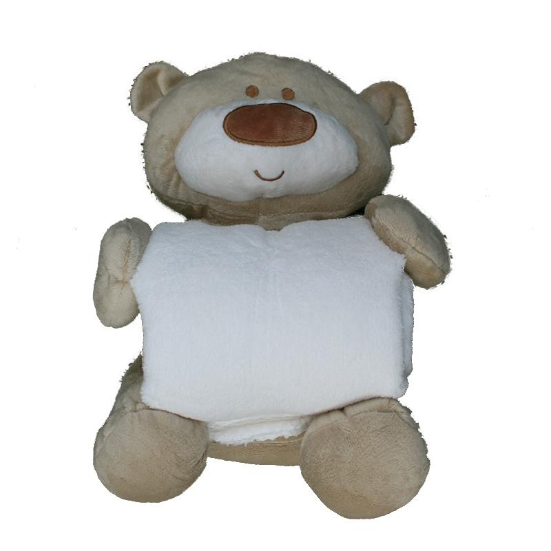 Peluche manta oso grande beig